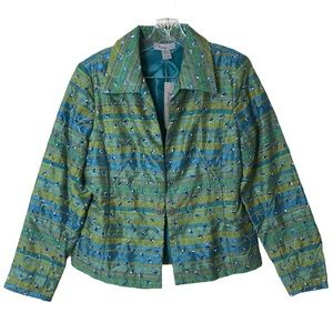 Analogy Striped Peacock Eyelet Print Blazer